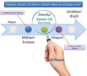 Sector 1A, Dwarka DDA Flats Metro Map by eDarpan.com
